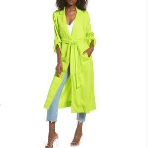 AFRM Hendrix Lime Green Print Duster Small